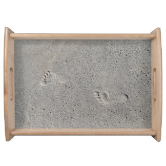 Foot Prints In The Sand at Virginia Beach Serving Tray