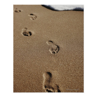 Foot steps in sand poster