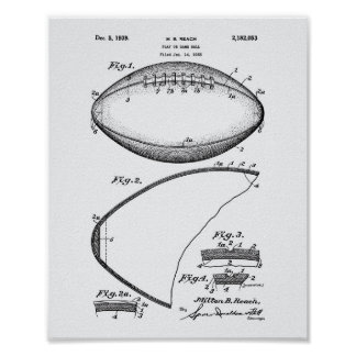 Football 1939 Patent Art - White Paper Poster