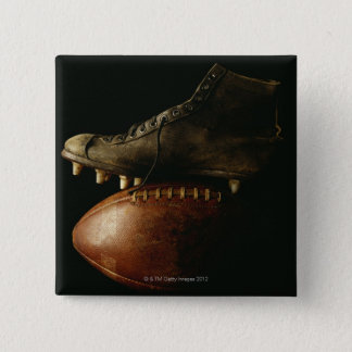 Football and Cleat 15 Cm Square Badge