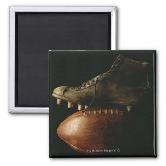 Football and Cleat Square Magnet