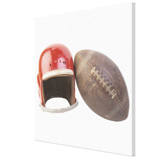 Football and helmet canvas print