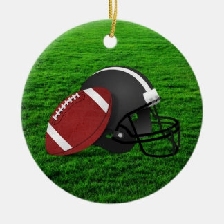 Football and Helmet on Grass Ornament