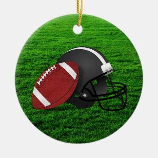 Football and Helmet on Grass Ornament