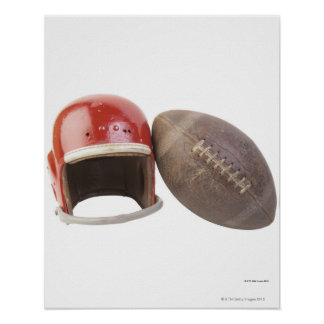 Football and helmet poster