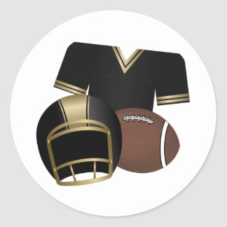 Football and Jersey and Helmet Round Sticker