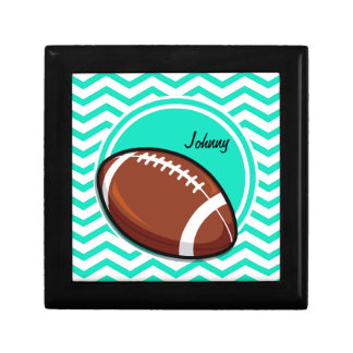 Football Aqua Green Chevron Gift Box