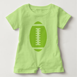 FOOTBALL BABY Lime | Front Lime Green Football Baby Bodysuit