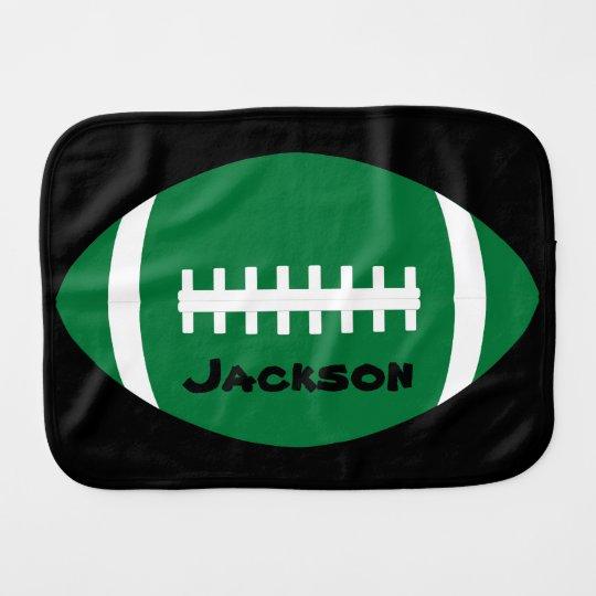 Football Baby Name Green Football Cute Custom Burp Cloth