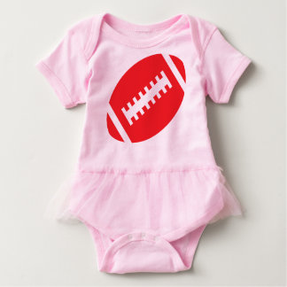 FOOTBALL BABY Pink Tutu | Front Red Football Baby Bodysuit