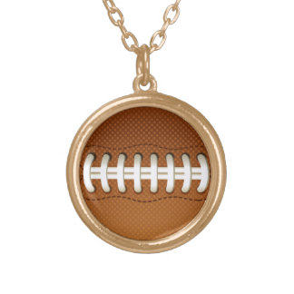Football Balls Sports Round Pendant Necklace