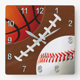 Football, Basketball Baseball Sports Wall Clock