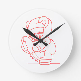 Football Bear Redwork Clock