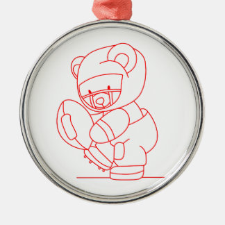 Football Bear Redwork Silver-Colored Round Decoration