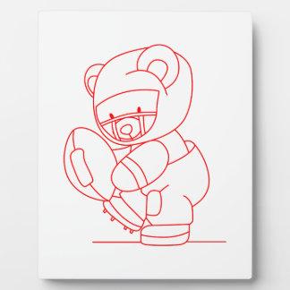 Football Bear Redwork Photo Plaques