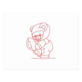 Football Bear Redwork Postcard