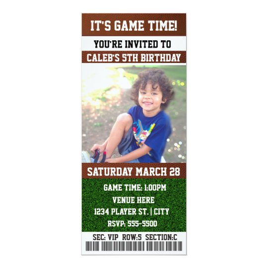 FOOTBALL Birthday Party TICKET PHOTO Invitation
