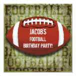 Football Birthday Party Vintage Green Grunge Invites
