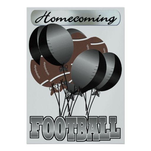 Football Black and Silver Homecoming Party Invitat Personalized Invitations
