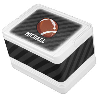Football; Black & Dark Gray Stripes Igloo Cooler
