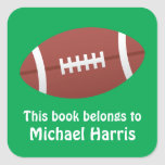 Football bookplate book label / tag for children square stickers