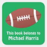 Football bookplate book label / tag for children square stickers