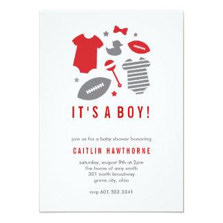Football Boy Baby Shower 13 Cm X 18 Cm Invitation Card