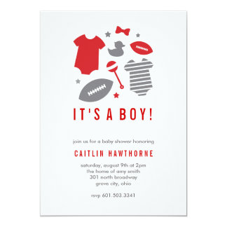 Football Boy Baby Shower 5x7 Paper Invitation Card