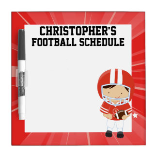 Football Boy in Red and White Dry Erase Whiteboards