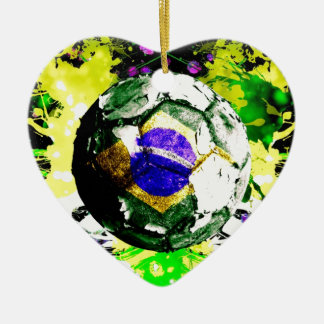 football Brazil Christmas Ornament
