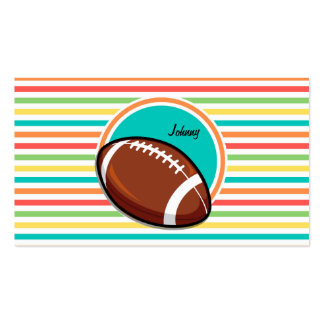 Football Bright Rainbow Stripes Business Card Template