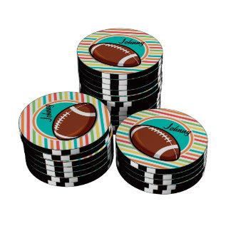 Football; Bright Rainbow Stripes Set Of Poker Chips