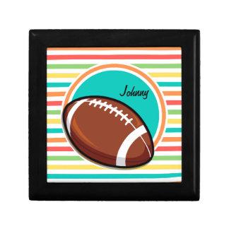 Football Bright Rainbow Stripes Trinket Box