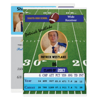 Football Card W/ Stats Grad Invitations - blue