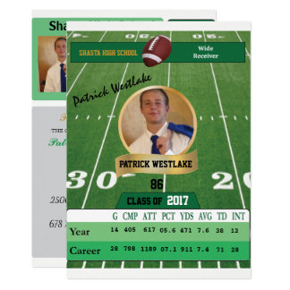 Football Card W/ Stats Grad Invitations - green