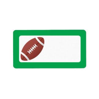 Football cartoon and green border blank label