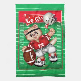 FOOTBALL CAT GIRL CUTE Linen with crockery 2 Tea Towel