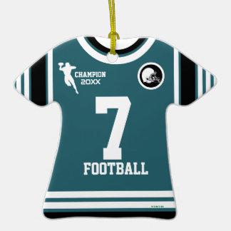 Football Champ Teal White T-Shirt Ornament