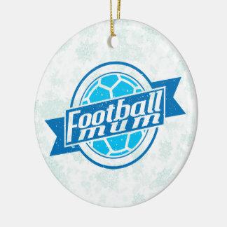 Football Christmas Decoration, Football Mum Double-Sided Ceramic Round Christmas Ornament