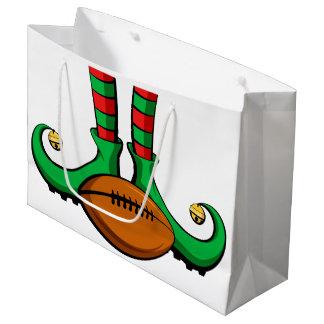 Football Christmas Elf Feet Large Gift Bag
