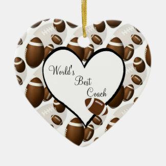 Football Christmas Heart Ornament