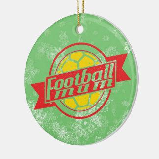 Football Christmas Tree Decoration, Footy Mum Double-Sided Ceramic Round Christmas Ornament