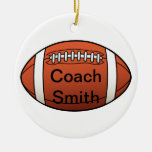 Football Coach Double-Sided Ceramic Round Christmas Ornament