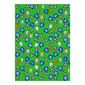 Football Design Wall Poster with Blue Shirts
