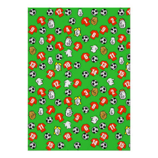 Football Design Wall Poster with Red Shirts