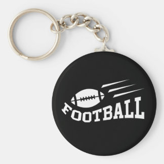 Football design with bouncing ball white on black basic round button key ring