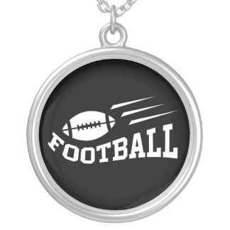 Football design with bouncing ball white on black silver plated necklace
