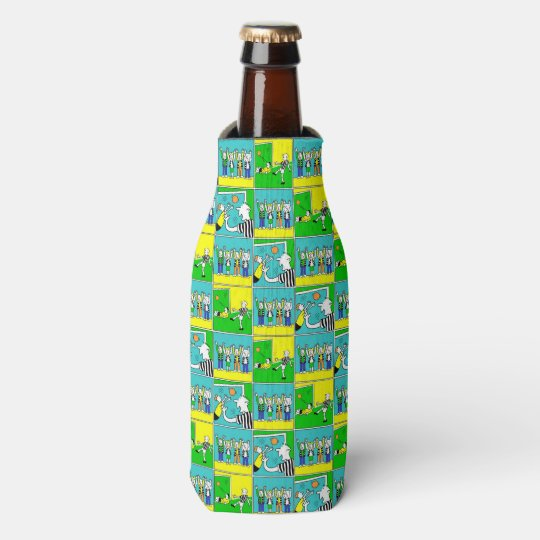 Football Design with players and cheering fans Bottle