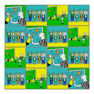 Football Design with Players and Cheering Fans Poster