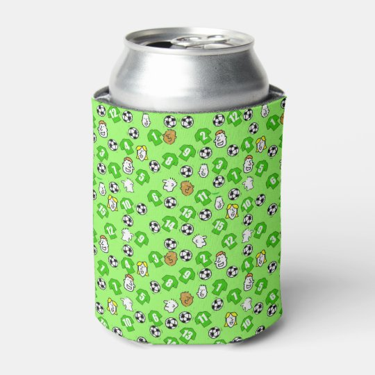 Football Design with shirts in green Can Cooler